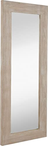Hamilton Hills White Washed Wood Framed Mirror Tall 20 x 48 Beach House Distressed Natural Look Wood Mirror Frame Hangs Horizontal or Vertical