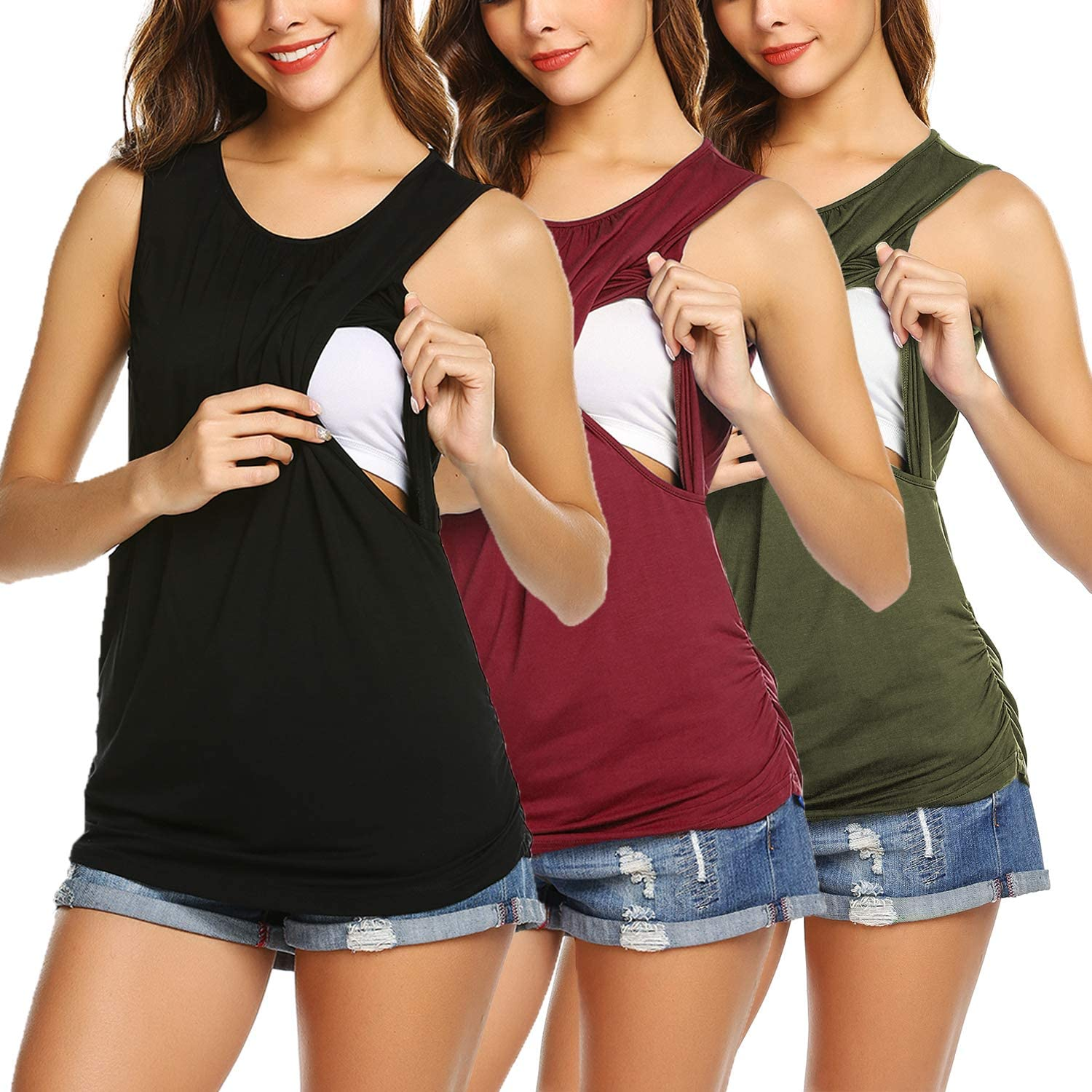 Ekouaer Women's Maternity Nursing Tank Top 3 Pack Breastfeeding Top Shirt Double Layer Soft Sleeveless Pregnancy Clothes at  Women's Clothing store