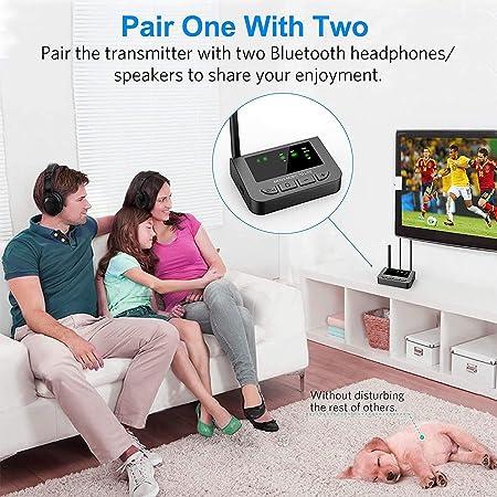 Friencity 3-EN-1 Receptor transmisor de Largo Alcance Bluetooth 5.0 y Adaptador Audio con AptX HD y Baja latencia, Connectar óptico Digital Auxiliar ...