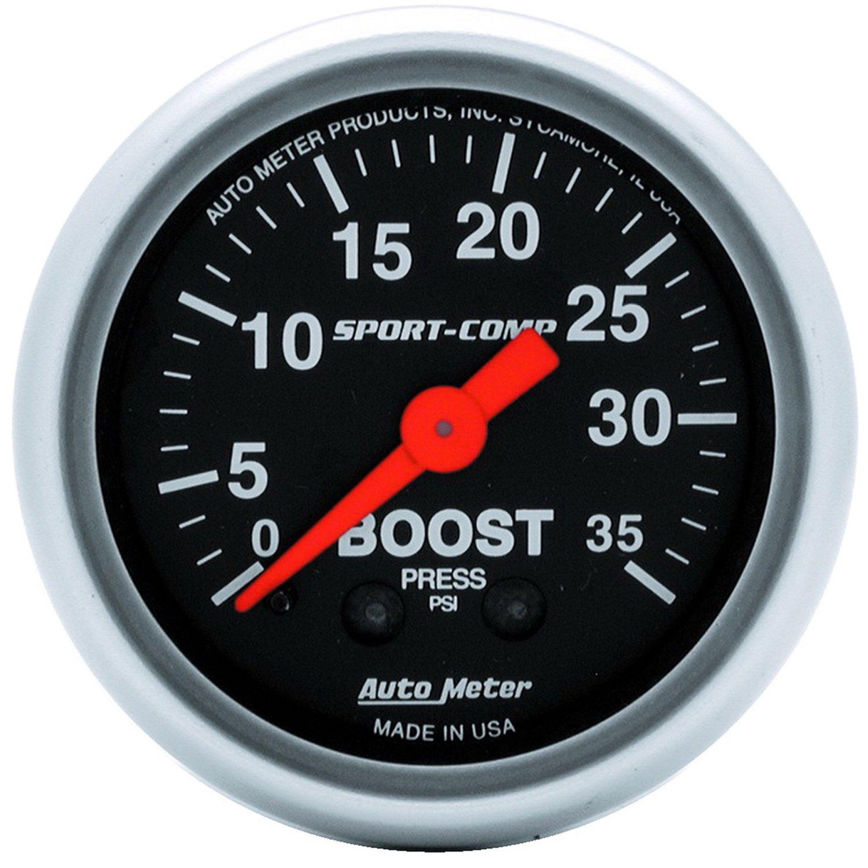 Auto Meter 3304 Sport-Comp 2-1//16 0-35 PSI Mechanical Boost Gauge