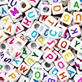 600 Pieces 6mm DIY White Colorful Acrylic Alphabet Letter Cube Beads for jewelry making, Bracelets, Necklaces,Children's Educational Toys, Key Chains and Kids Jewelry
