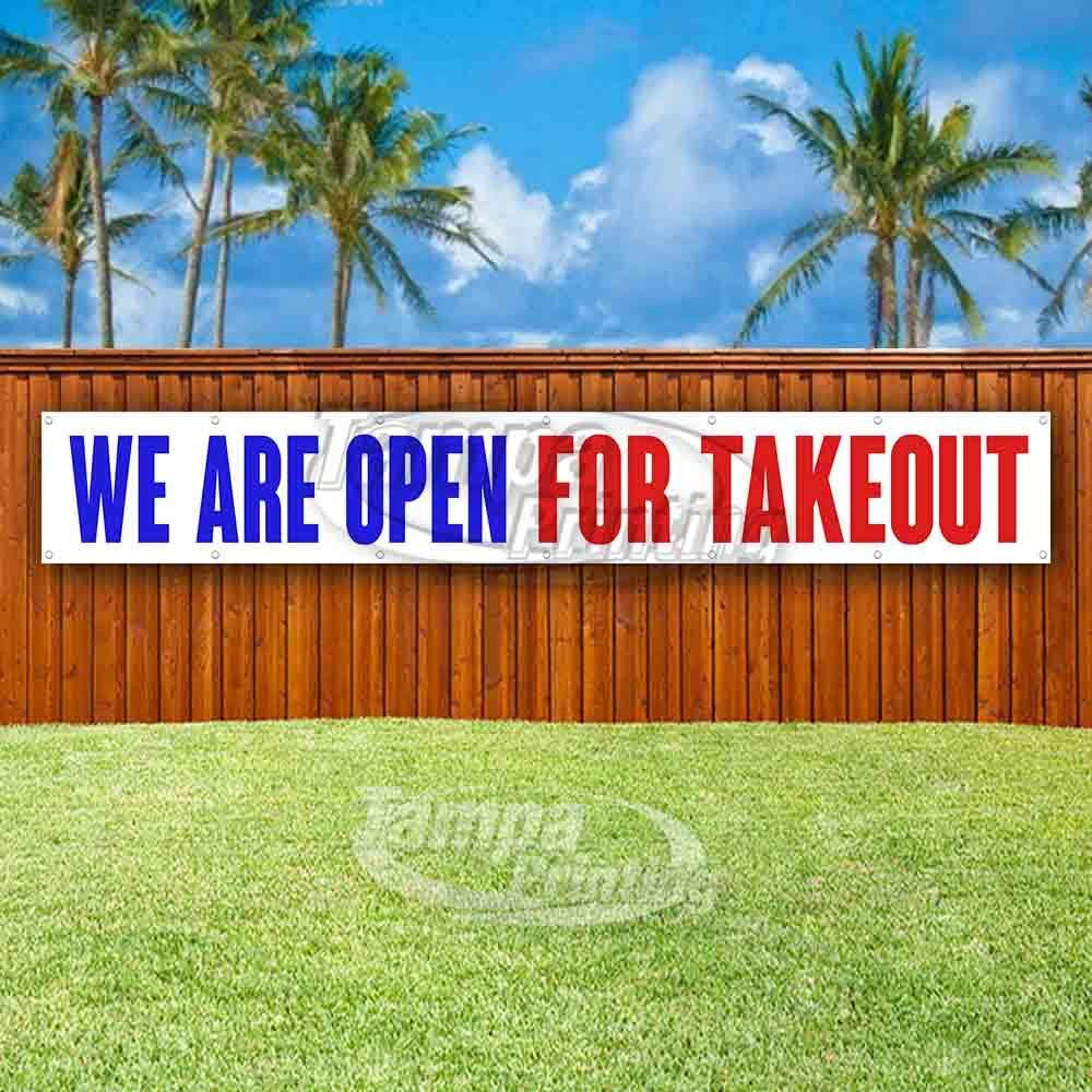 New Many Sizes Available Store We are Open for Takeout 13 oz Heavy Duty Vinyl Banner Sign with Metal Grommets Advertising Flag,