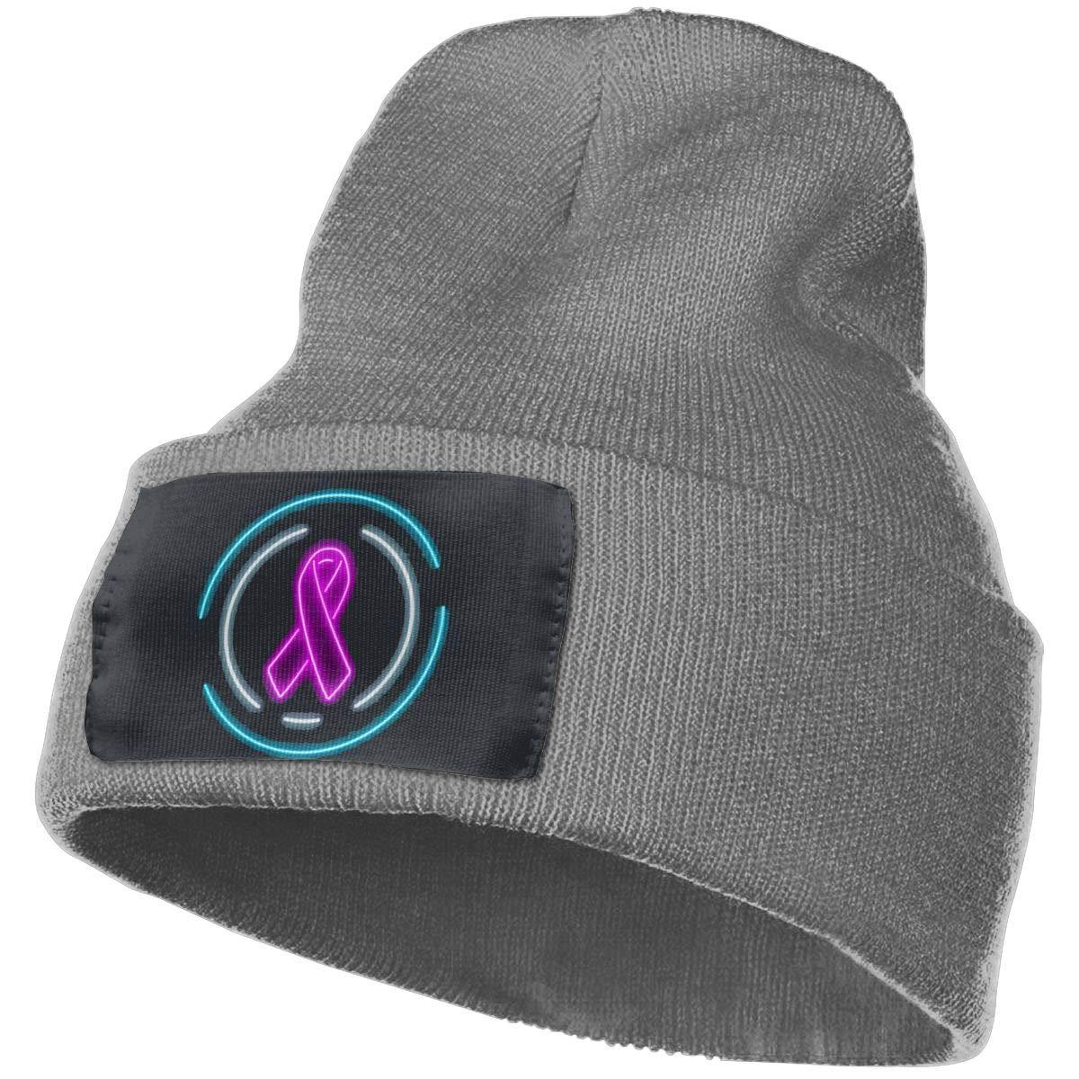 AgnWad Unisex Breast Cancer Ribbon Hope Knit Cap Soft Stretch Knit Hat Cap Winter Warmer Knit Cap Winter Warm Knitting Hats
