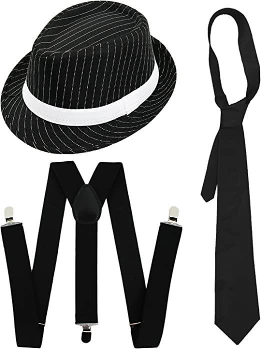 White Gangster Tie Al Capone Gangster Accessories