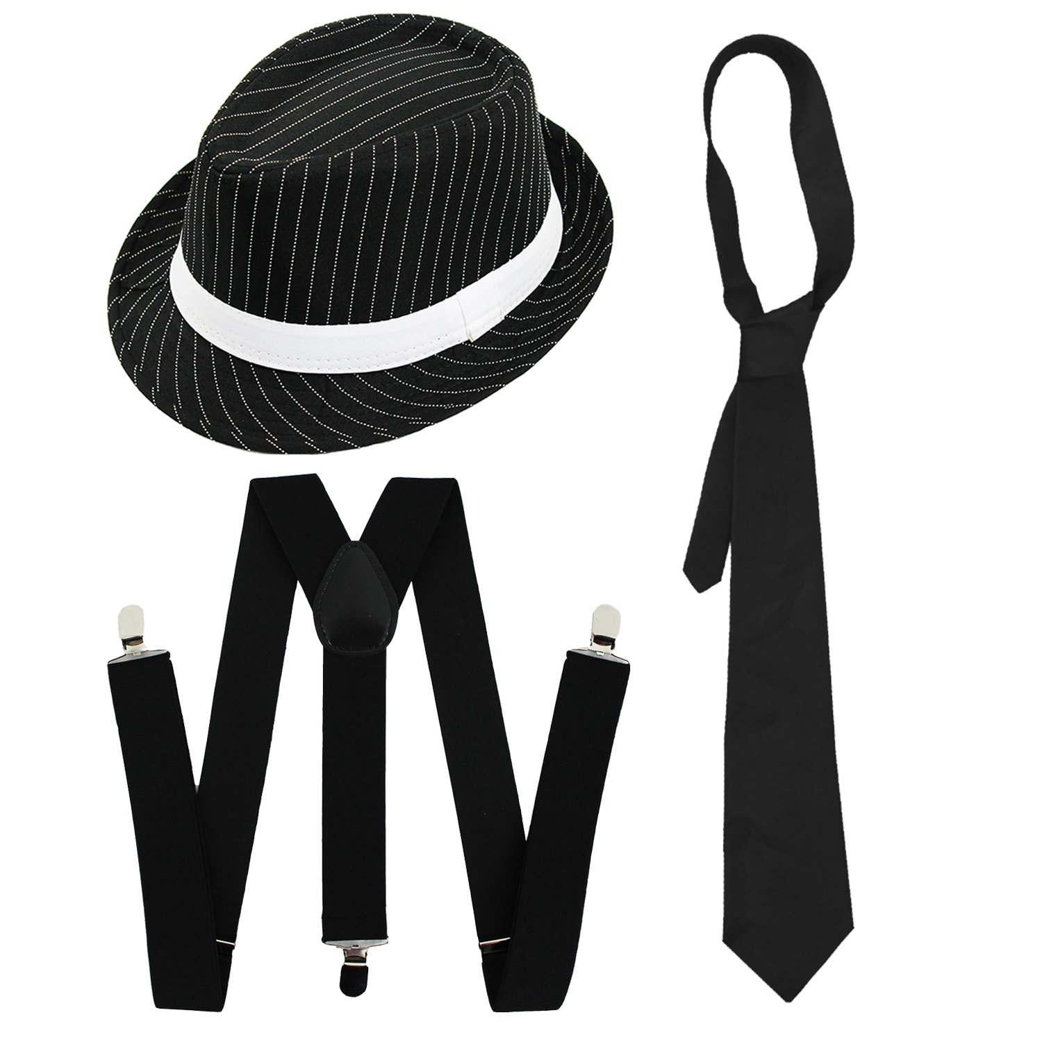 d4366f325 GANGSTER SET FANCY DRESS ACCESSORY COSTUME DELUXE KIT BLACK OR WHITE  PINSTRIPE TRILBY HAT + BLACK BRACES + BLACK TIE MOB GANGSTER MEN AL CAPONE