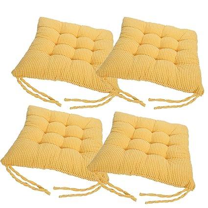laamei Pack 4 Cojines de Asiento Algodón Cómodos Cojín Terraza Amortiguador de Sillas Oficina Hogar Muebles Decoración con Lazos 40cm (A-Amarillo)
