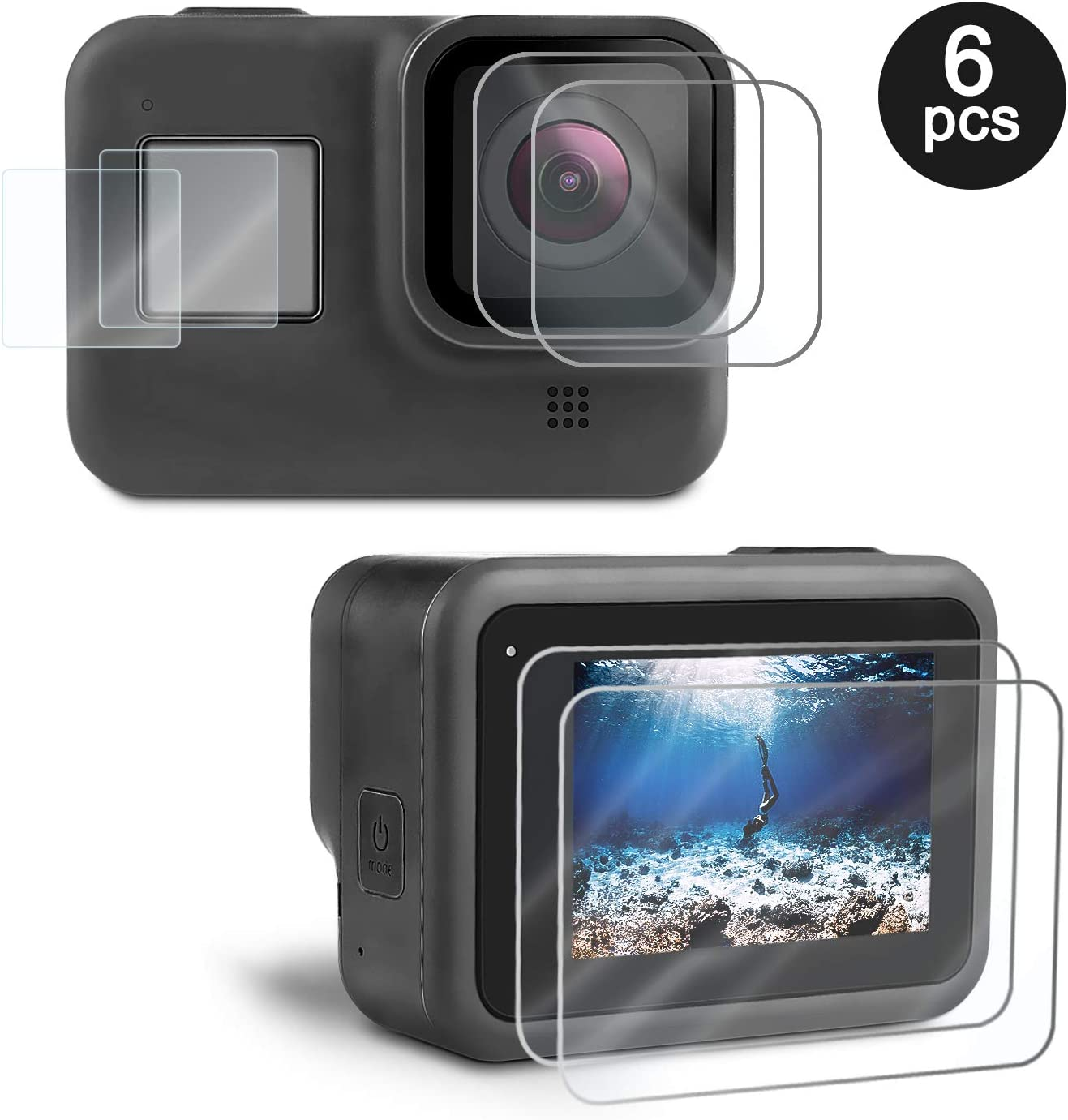 Kupton Screen Protector for GoPro Hero 8 Black 6 Pcs, Ultra Clear Tempered Glass Screen Protector + Lens Protector + Small Display Film + Installation Pack Accessories for Go Pro Hero8 Action Camera