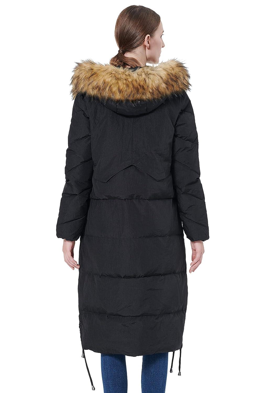 Orolay Womens Winter Drawstring Down Coat Removable Faux Fur Black 2XL
