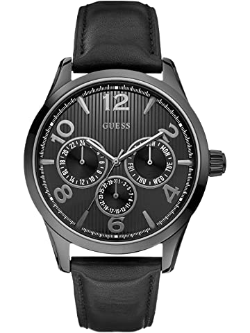 GUESS Factory Mens Black-Tone Multifunction Watch, ...
