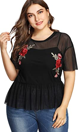 Amazon Com Shein Blusa De Malla Transparente Con Bordado Rosa Para Mujer Clothing
