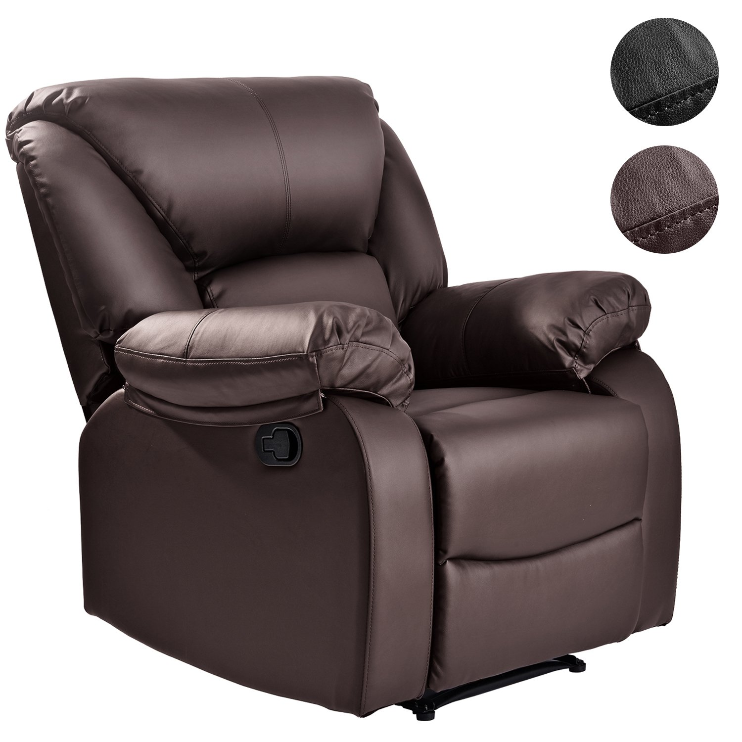 LIFE CARVER Leather Recliner Chair Recliner Armchair Sofa Home Lounge Reclining Gaming Home Office(Black)