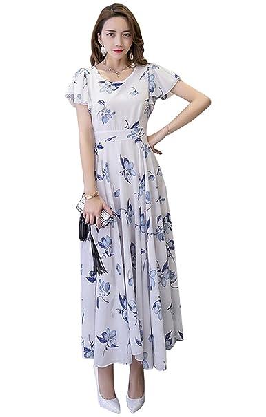 Haroty Mujer Verano Nuevo Vestidos Manga Corta Cuello Redondo Bohemia Vestido Estampado Corte Ajustado Elegante Vestido