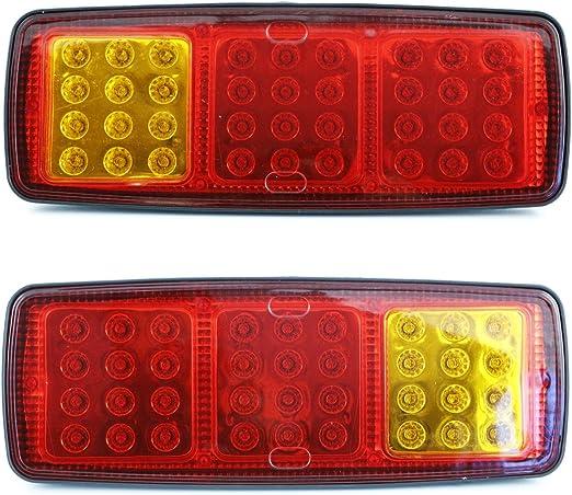 2x 12//24 V quadrato LED anteriore lato bianco luci di posizione per camion rimorchio caravan camion autobus van ribaltabile