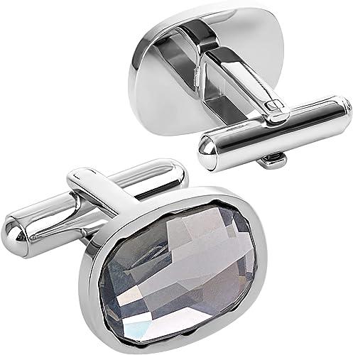 Bombero Onza temor  Amazon.com: Lux & Pair Elegant Tuxedo Cufflinks Premium & Deluxe Genuine  Swarovski Crystals Elements, for Formal Outfits, Suits, Weddings & Work,  Blue, Crystal Grey, (Grey): Jewelry
