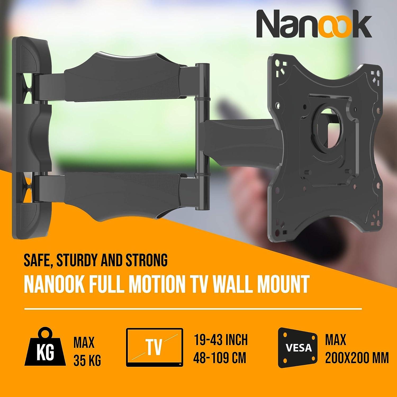 Nero Inclinabile VESA da 100x100 a 200x200 Compatibilit/à universale LED NANOOK Supporto da parete girevole per TV da 19-43 pollici Supporto da parete per televisori LCD QLED e OLED