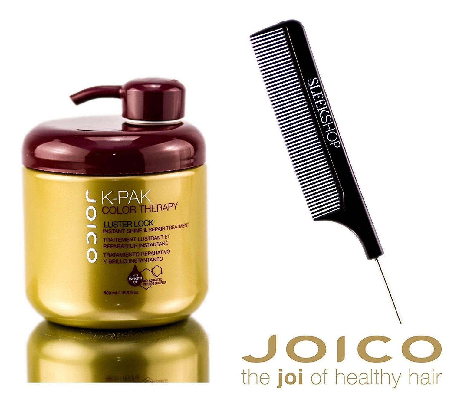 Joico K-Pak Color Therapy LUSTER LOCK – Instant Shine Repair Treatment with Sleek Steel Pin Tail Comb 8.5 oz 250 ml – NEW SIZE