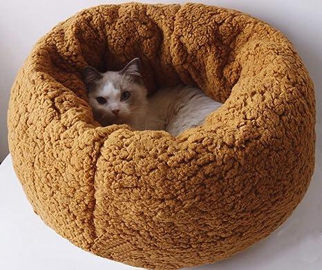 Cama para Mascotas Deluxe para Gatos y Perros Pequeños y medianos con Cojín Suave Redondo u ...