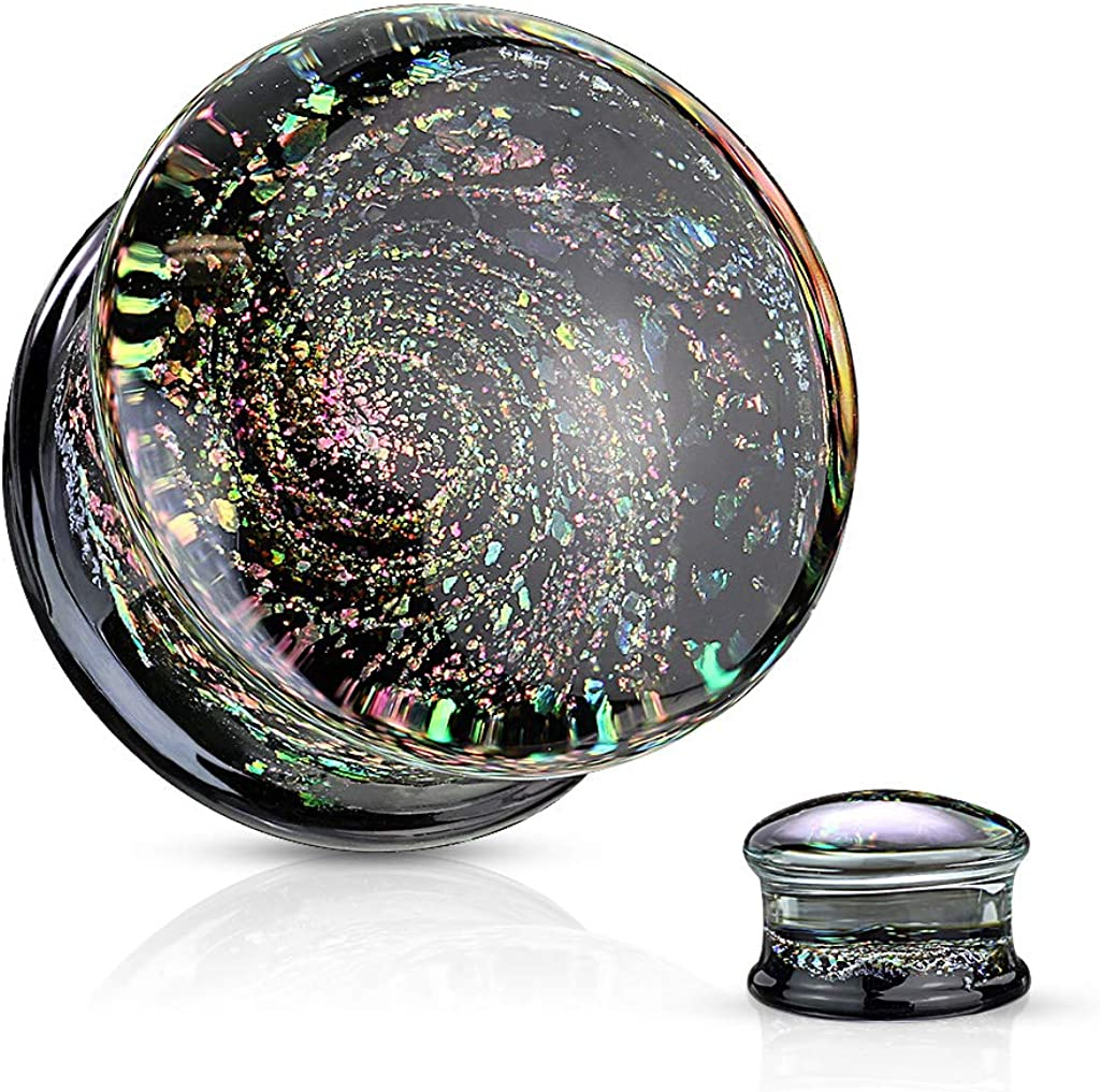 Pierced Owl Multicolor Aurora Borealis Sparkle Swirl Galaxy Double Flared Glass Plugs, Sold as a Pair