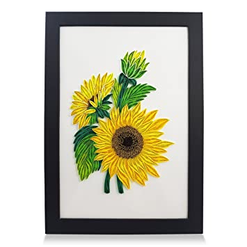 Amazoncom Papertalk Sunflowers Handmade Frame Paper Quilling 3d