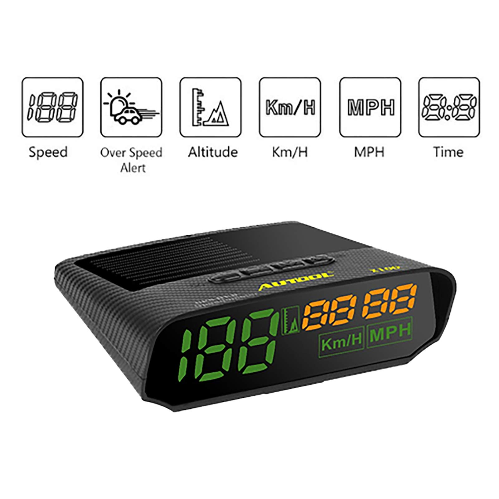 AUTOOL Universal Car HUD GPS Speedometer MPH/KM/h LED Head UP Display Digital Auto Speed Overspeed Alarm for All Vehicles by AUTOOL