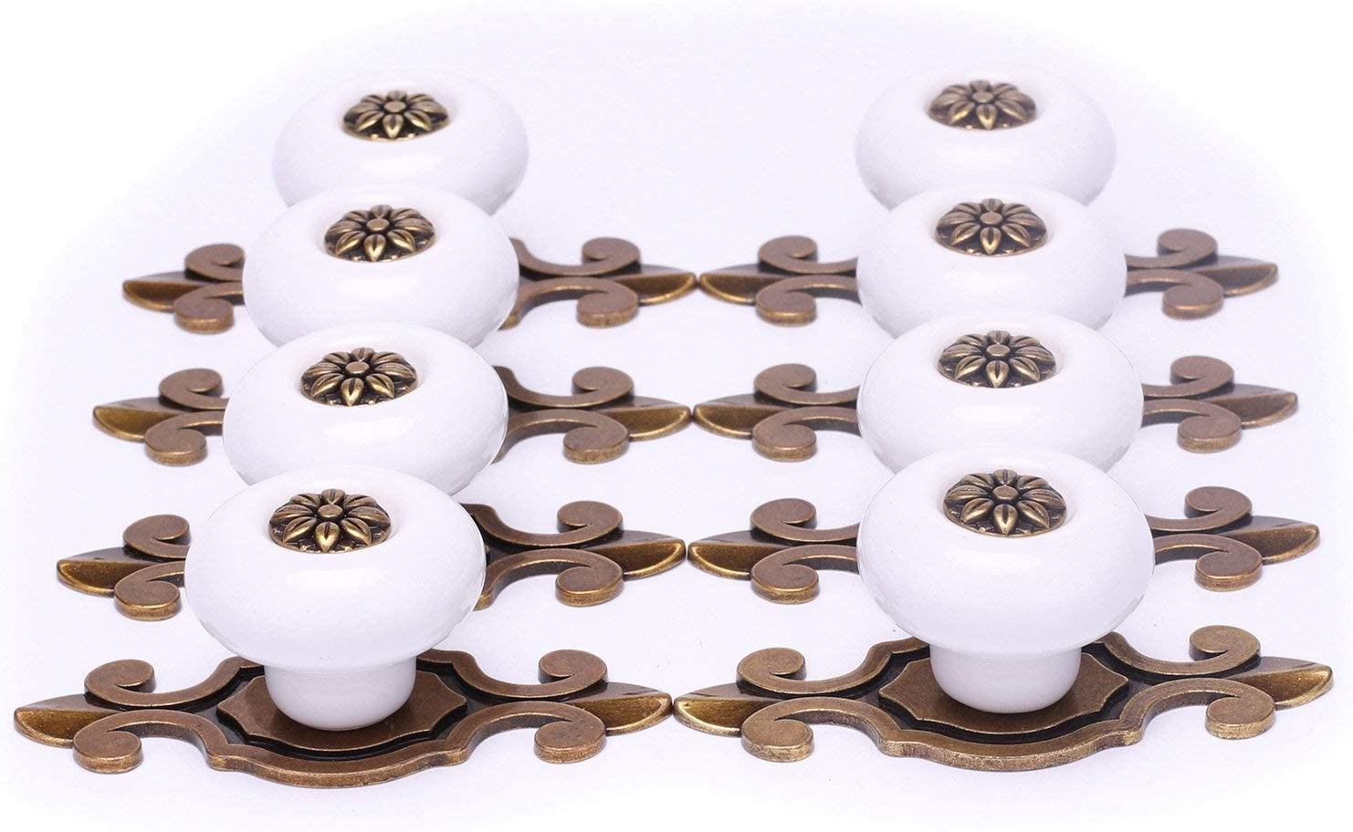 Backplates For Knobs On Kitchen Cabinets SunKni 8 Pack Ceramic Knobs and Pulls for Kitchen Cabinets