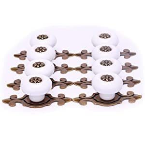 SunKni 8 Pack Ceramic Knobs and Pulls for Kitchen Cabinets Hardware Knob with Backplate Large Round Knobs for Dresser Drawers Furniture Cupboard Wardrobe Ceramic Door Knobs Vintage (Bronze-White)