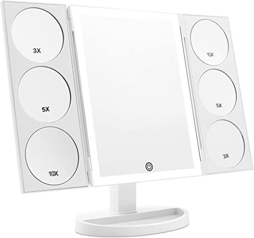 2019 X-Large 3-Color Lighted Model Trifold Vanity Makeup Mirror with 44 LED Lights and Dual Magnifying Panels 3X 5X 10X , Dual Power Supply and 360 Rotatable White