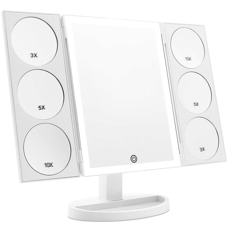 Espejo de 3 partes con iluminacion 360° rotable