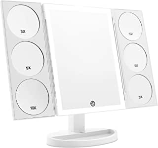[2019 X-Large 3-Color Lighted Model] Trifold Vanity Makeup Mirror with 44 LED Lights and Dual Magnifying Panels (3X/5X/10X), Dual Power Supply and 360° Rotatable (White)