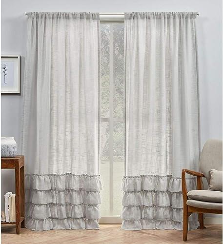 Exclusive Home Curtains Jacinta Bottom Ruffle Light Filtering Rod Pocket Curtain Panel Pair
