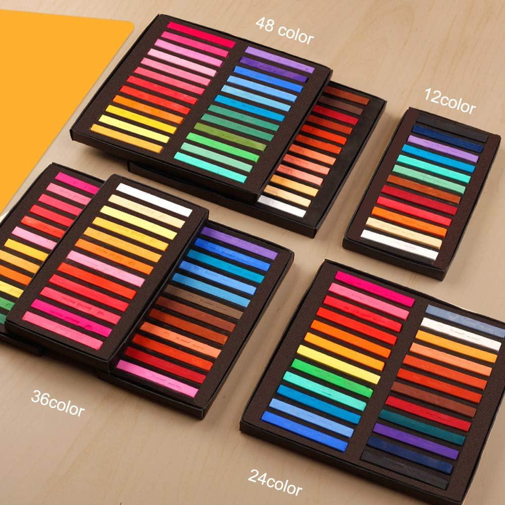 Entweg Artist Pastels,Square Pastel Set 12/24/36/48 Colors Soft Dry Pastel Artist Chalk Pastel Sticks Non Toxic for Office School Art Drawing Painting Supplies