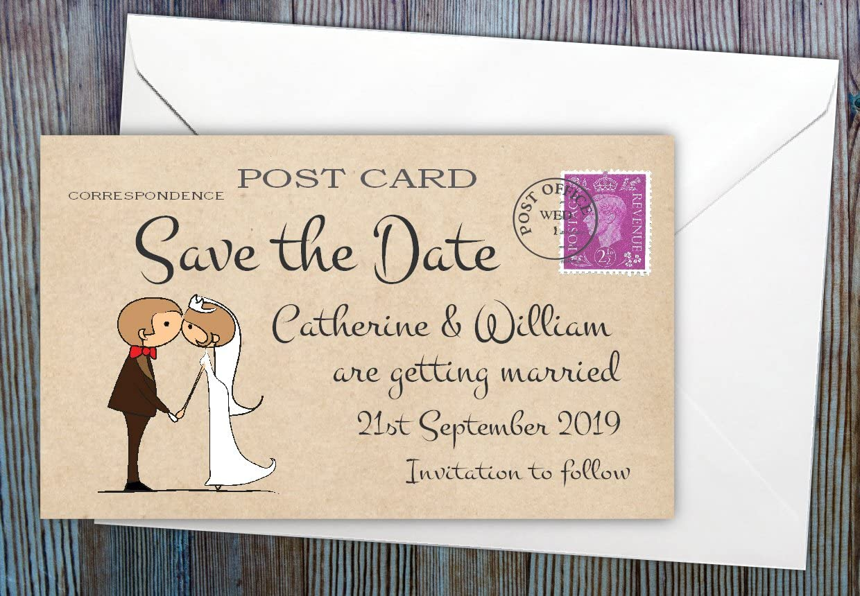 SAVE THE DATE CARDS Silhouette Couple Postcard Design /& Envelopes