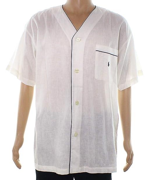 d13e4dcc0c Polo Ralph Lauren Mens Medium Button Down Shirt White Ivory M at Amazon  Men s Clothing store