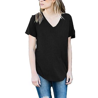 26f4a447b Amaryllis Apparel Women's Black Loose Cut Casual V-Neck Short Sleeve Top |  100%