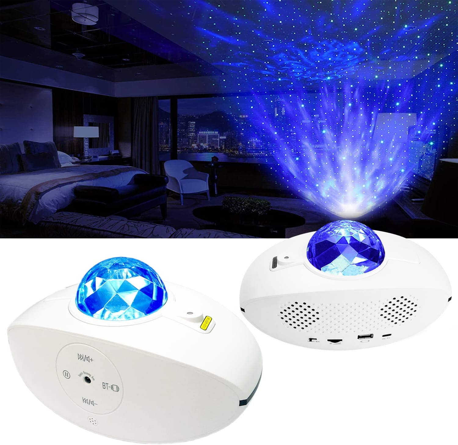 Starry Night Light Projector, 3 in 1 Galaxy Light Projector (Alexa & Google Home Compatible) LED Nebula Star Clouds with Remote Control, Bluetooth Speaker, Baby, Ceiling, Bedroom, Birthday Party