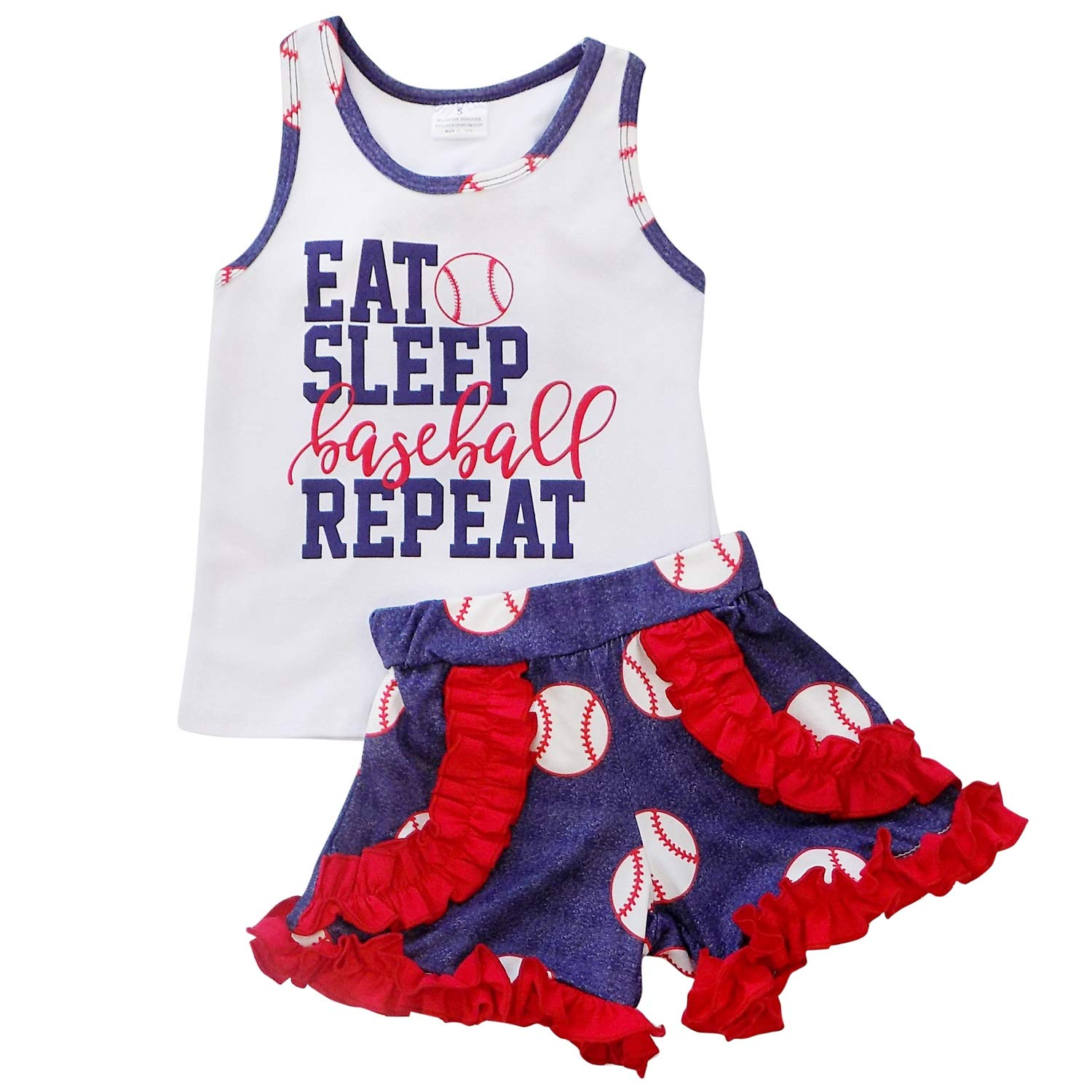 55a0ba635072 Amazon.com  So Sydney Girls Toddler Baseball Summer Dress