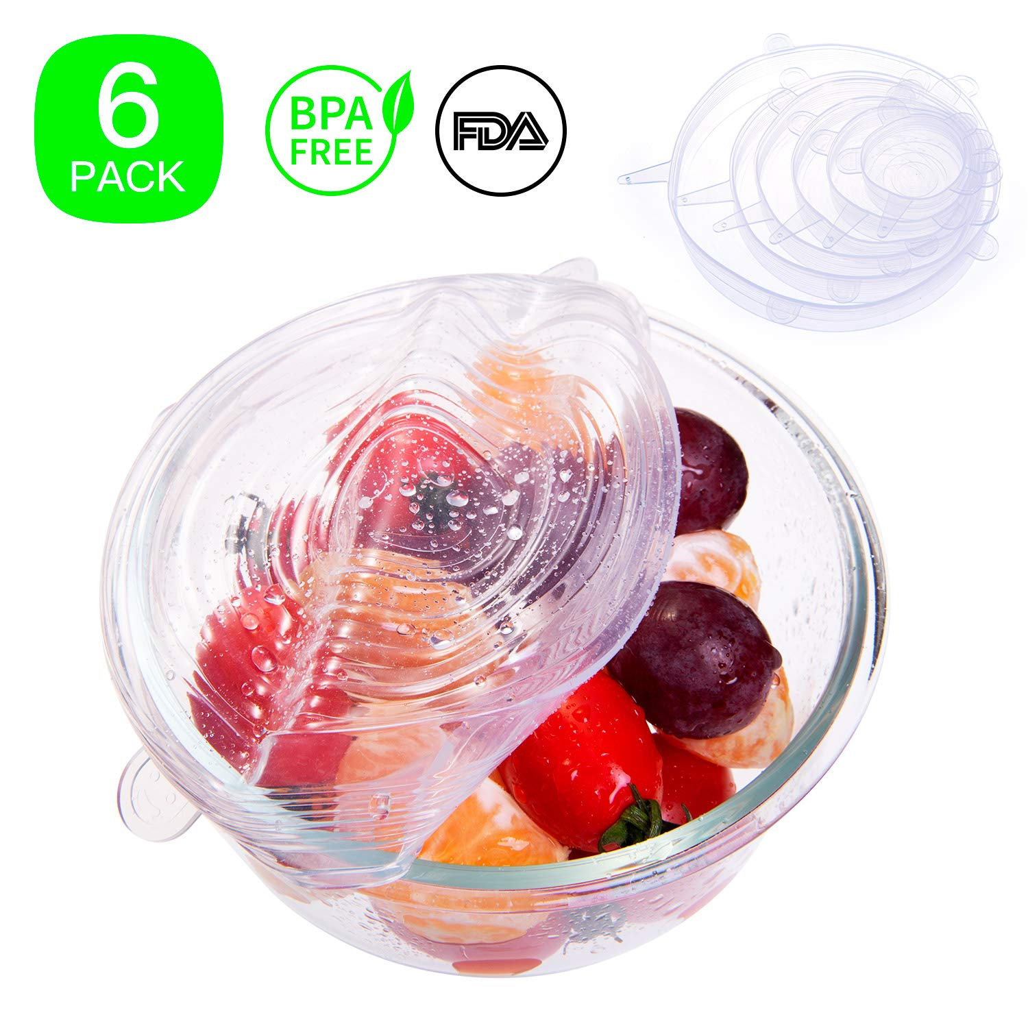 Silicone Stretch Lids, 6-Pack Various Sizes Lids For Kitchen Bowls, Durable and No Tear Food Preservation Silicone Stretch Lids