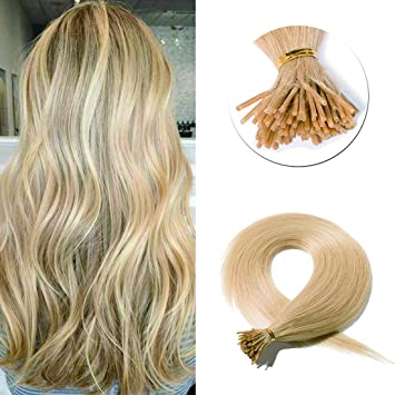 Amazon.com   Pre Bonded Keratin Stick I Tip Remy Human Hair Extension Cold  Fusion Hair Piece for Women Smooth Straight 100 Strands pack  24 Natural  Blonde ... 3018888eeb
