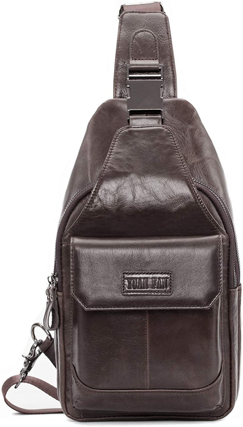 Men's Genuine Leather Crossbody Sling Bag,Chest bag,Hiking Backpack Water Resistant Anti Theft