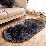 oenkeise Modern Area Rugs Living Room Bedroom Soft Shaggy Carpet Anti-Slip Fluffy Plush Area Rugs 40 x 60cm
