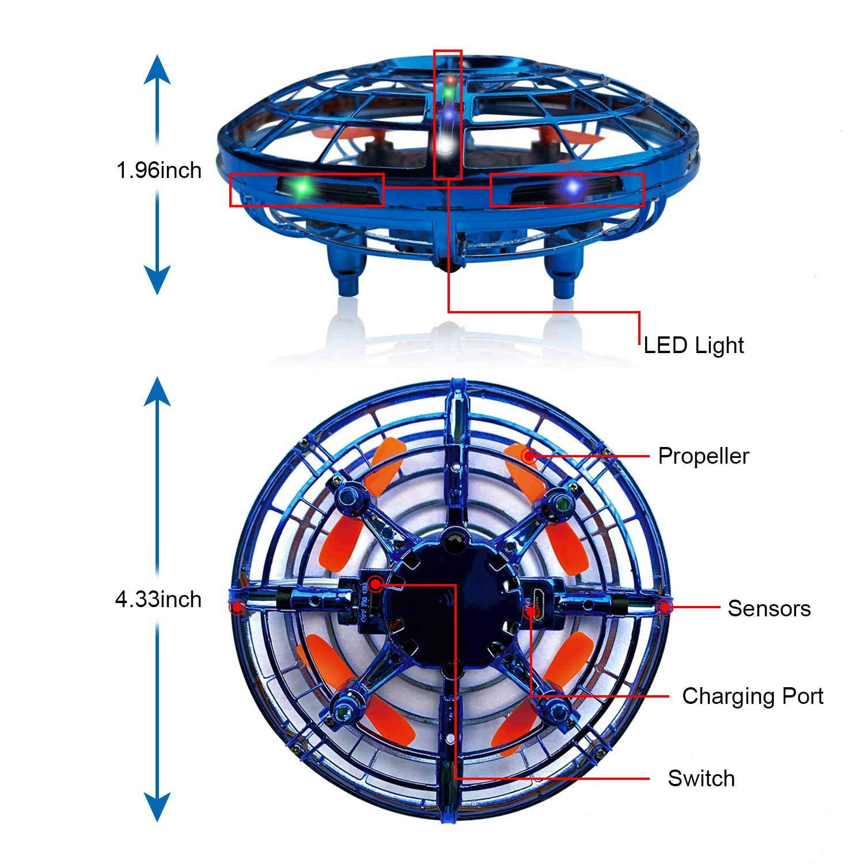 BRAND SET Versione Aggiornata del UFO Mini Drone Giocattoli Volanti con Luci a LED Induzione a Infrarossi Controllato a Mano Mini Giocattoli Drone Facili Adatto a Bambini dai 5 ai 15 Anni-Rosso