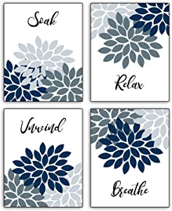 """Modern Inspirational Simplicity Abstract Relax Soak Unwind Breathe Art Prints Bathroom Spa Locker Bedroom Office Wall Poster Art Painting Set of 4 ( """"8x10""""Canvas Picture) Home Decor Unframed"""