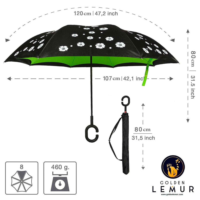 fc9605f865 Paraguas Invertido. Paraguas Inverso Original Reversible de Colores de Mujer  y Hombre Antiviento para Coche, Grande, ...