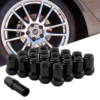 RYANSTAR 20Pcs M12x1.5 Wheel Lug Nuts, Closed End 6 Spline Nut,Bulge Acorn Cone Seat Wheel Locking Nuts, with 19 Hex and 21 Hex Security Key Black: Automotive