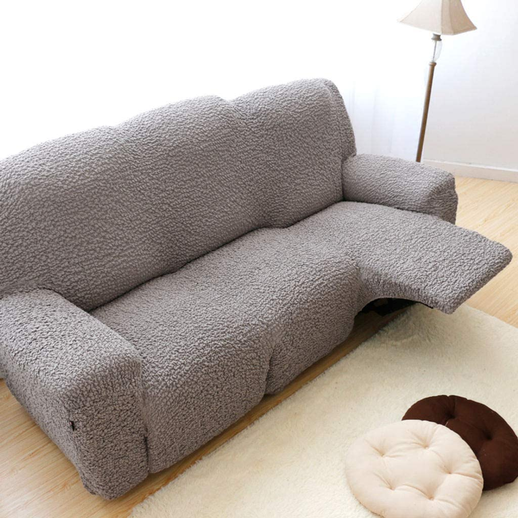 Stretch Recliner Slipcover, High Elastic Sofa Cover Jacquard Sofa Slipcover for Reclining Sofa Furniture Protector for 1 2 3 Cushion Couch -Light Grey-Sofa 210-240cm