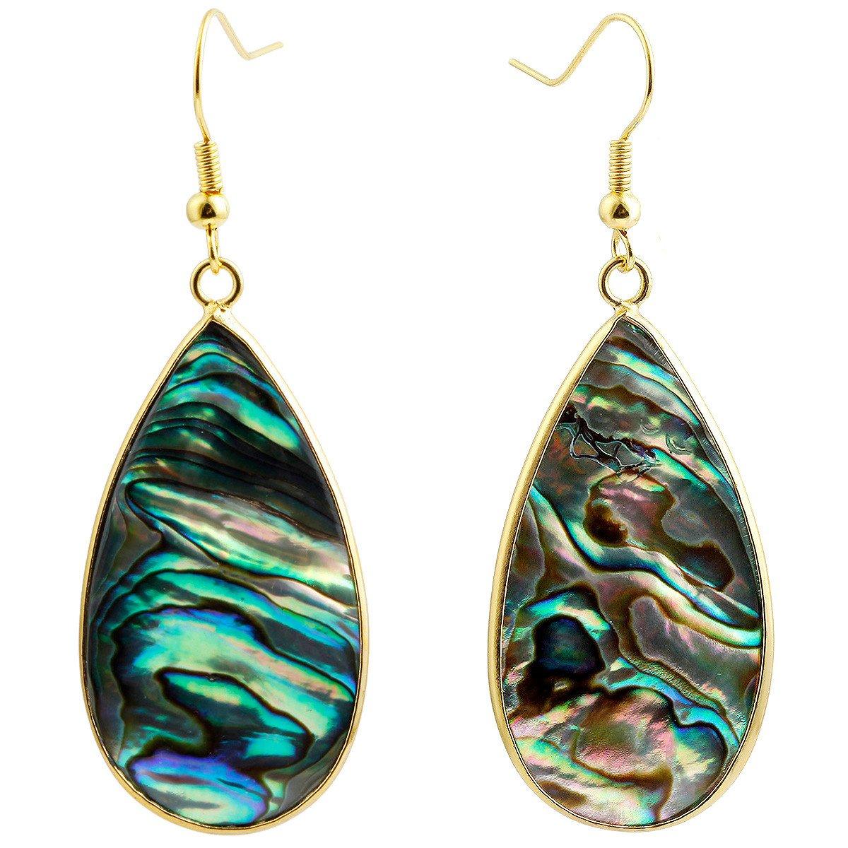 SUNYIK Women's Abalone Shell Round Teardrop Dangle Earrings