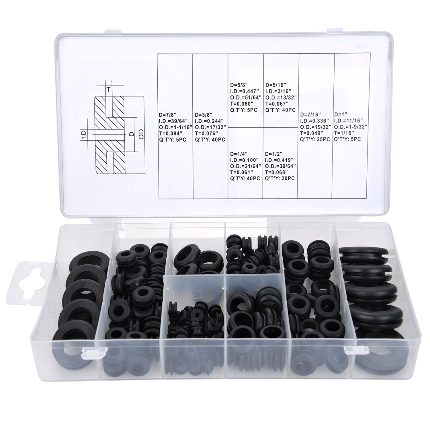 Rubber Grommet Assortment Kit Electrical Conductor Gasket Ring Set for Wire, Plug and Cable, 180 Pieces eBoot