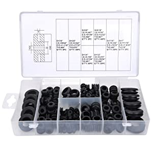 eBoot Rubber Grommet Assortment Kit Electrical Conductor Gasket Ring Set for Wire, Plug and Cable, 180 Pieces
