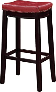 Benjara Wooden Bar Stool with Faux Leather Upholstery, Red and Brown