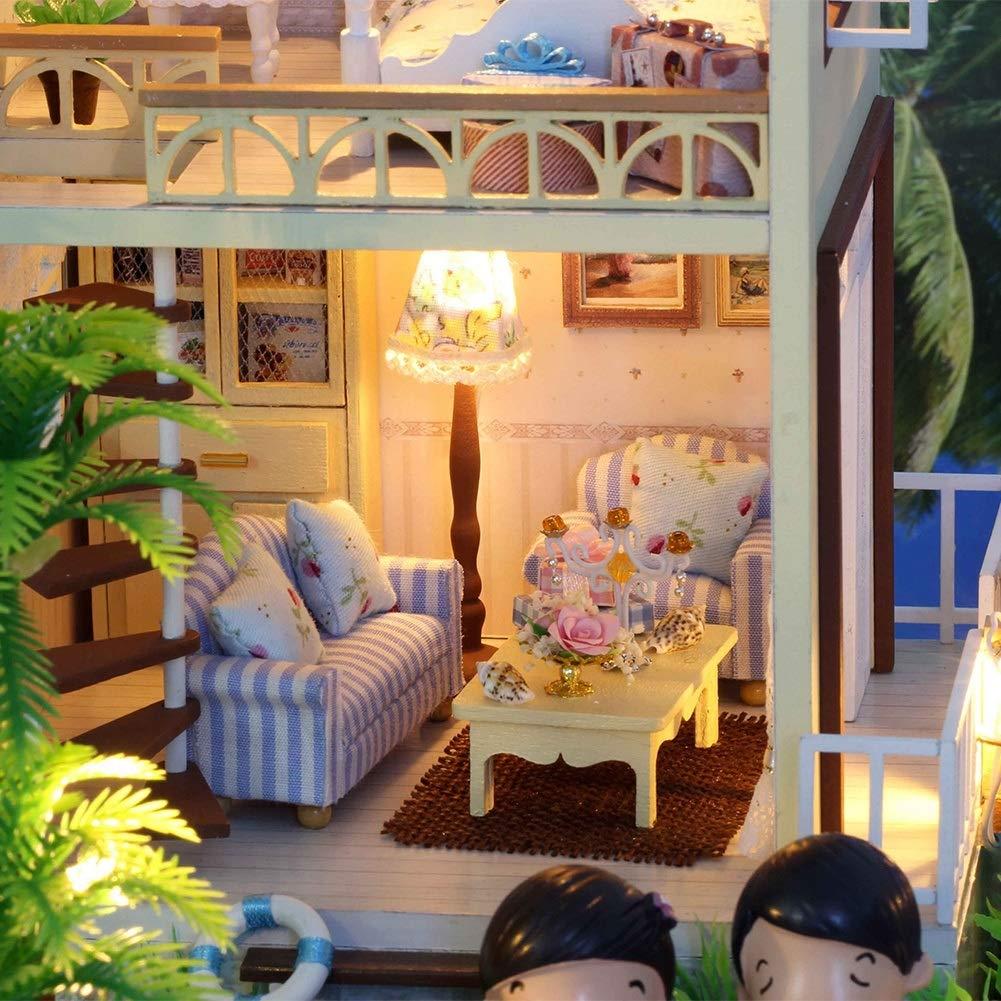 Maison de poup/ée Bricolage Mignon Maison de poup/ée en Bois Miniature Kit Maison Bricolage Parfait Cadeau de Bricolage Maison de Bricolage